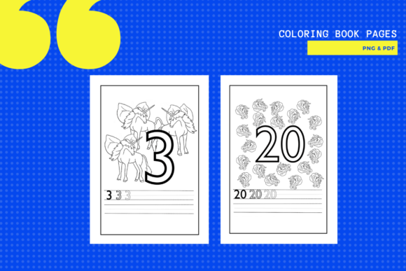 Download Free 1 20 Unicorn Number Colouring Pages Graphic By Yumbeehomeschool for Cricut Explore, Silhouette and other cutting machines.
