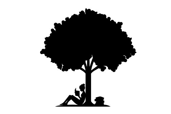 Download Free Reading Under A Tree Svg Cut File By Creative Fabrica Crafts for Cricut Explore, Silhouette and other cutting machines.