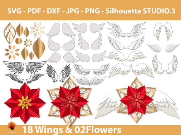 Download Free 18 Wings 02 Paper Flowers Templates Graphic By Lasquare Info for Cricut Explore, Silhouette and other cutting machines.