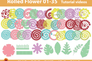 Print on Demand: 35 Rolled Flower| Paper Flower Templates Graphic 3D Flowers By lasquare.info
