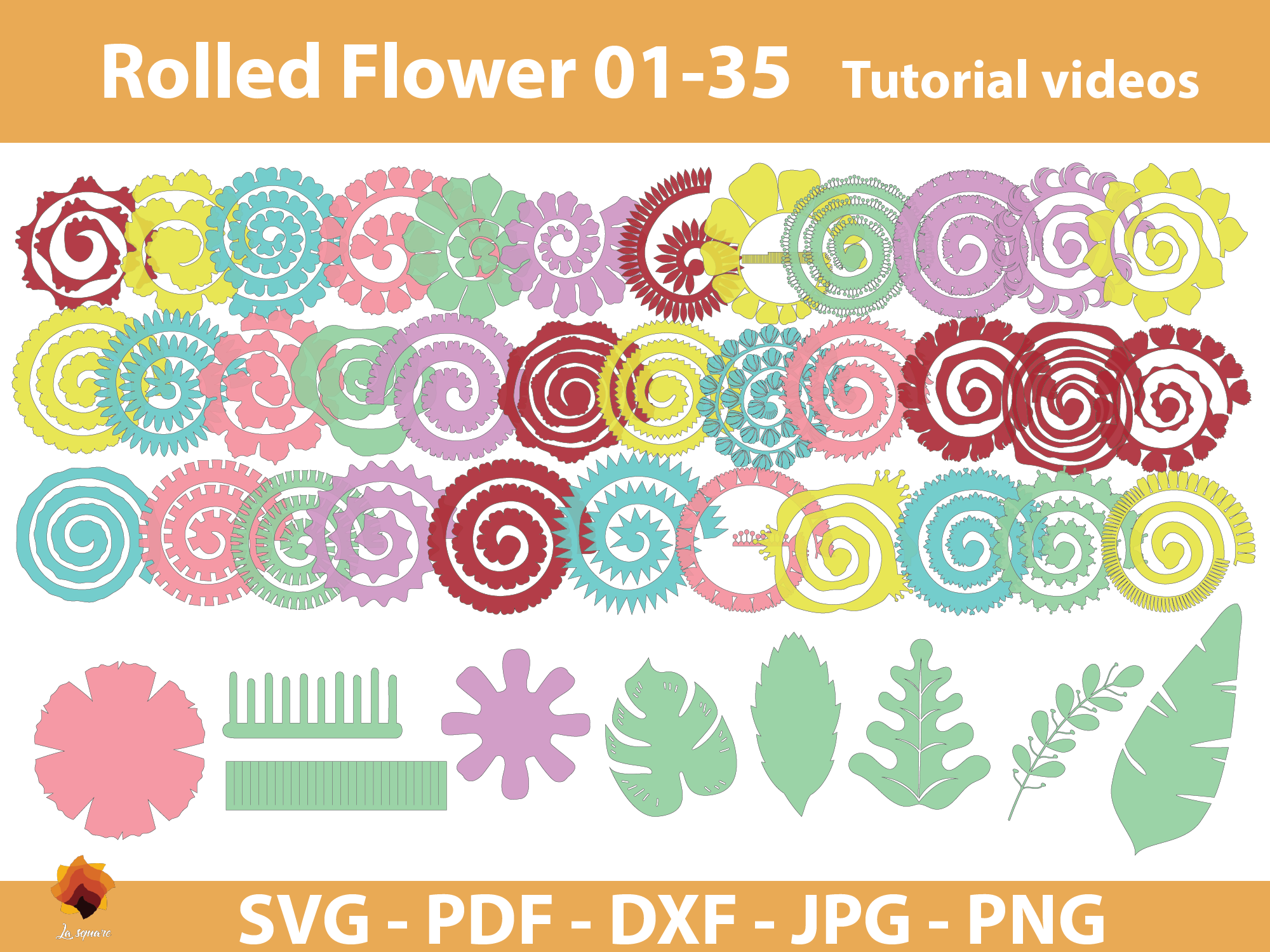 Download Free 35 Rolled Flower Paper Flower Templates Graphic By Lasquare SVG Cut Files