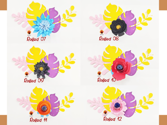 Download Free 35 Rolled Flower Paper Flower Templates Graphic By Lasquare for Cricut Explore, Silhouette and other cutting machines.