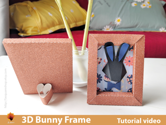 Download Free 3d Bunny Frame Paper Craft Easter Grafico Por Lasquare Info for Cricut Explore, Silhouette and other cutting machines.