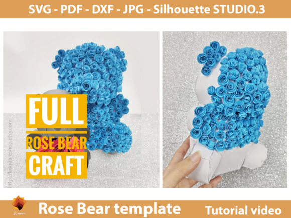 Download Free 3d Rose Bear Paper Craft Template Graphic By Lasquare Info Creative Fabrica for Cricut Explore, Silhouette and other cutting machines.