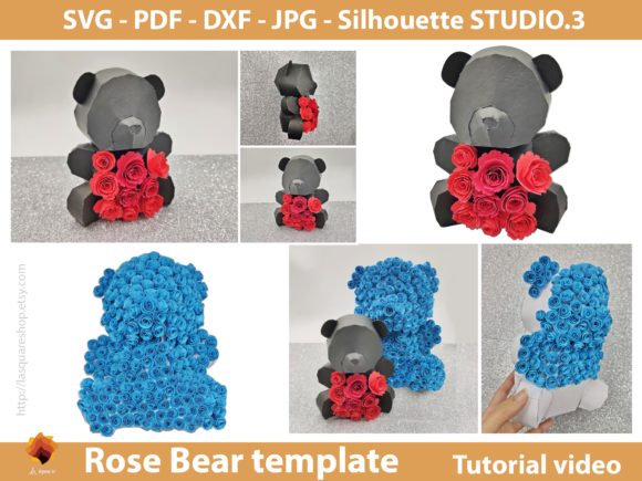 Download Free 3d Rose Bear Paper Craft Template Graphic By Lasquare Info for Cricut Explore, Silhouette and other cutting machines.