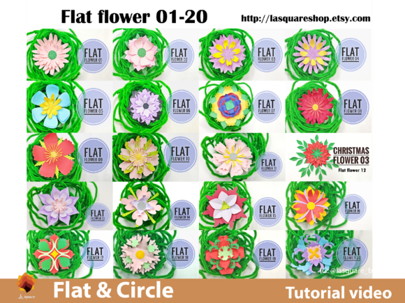 Download Free 40 Circle Paper Flowers Templates Graphic By Lasquare Info for Cricut Explore, Silhouette and other cutting machines.