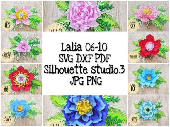 Download Free 40 Laila Paper Flowers Templates Graphic By Lasquare Info for Cricut Explore, Silhouette and other cutting machines.