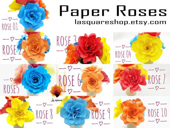 Download Free 40 Rose Paper Flower Templates Graphic By Lasquare Info for Cricut Explore, Silhouette and other cutting machines.