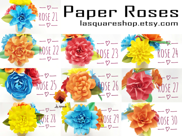 Download Free 40 Rose Paper Flower Templates Graphic By Lasquare Info SVG Cut Files