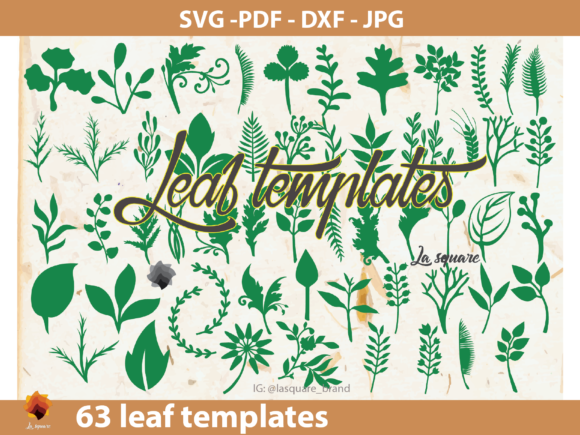 Download Free 60 Paper Leaf Vine Templates Graphic By Lasquare Info for Cricut Explore, Silhouette and other cutting machines.