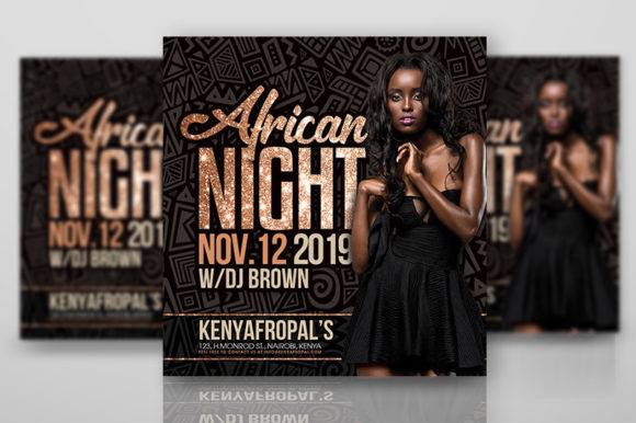 African Night Flyer Template Graphic Print Templates By n2n44.studio