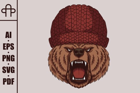 Print on Demand: Angry Bear Head  Vector Illustration Graphic Illustrations By Andypp