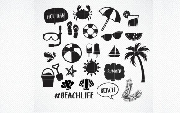 Download Free Beach Life Bundle Graphic Graphic By Svg Den Creative Fabrica for Cricut Explore, Silhouette and other cutting machines.