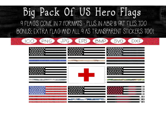 Print on Demand: Big Pack of US Hero Flags Collection Graphic Print Templates By CapeAirForce