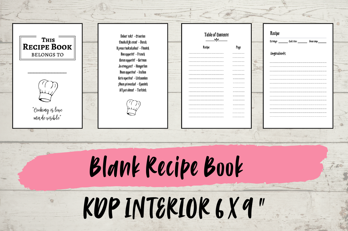 Download Free Blank Recipe Book Kdp Interior Graphic By Hungry Puppy Studio for Cricut Explore, Silhouette and other cutting machines.