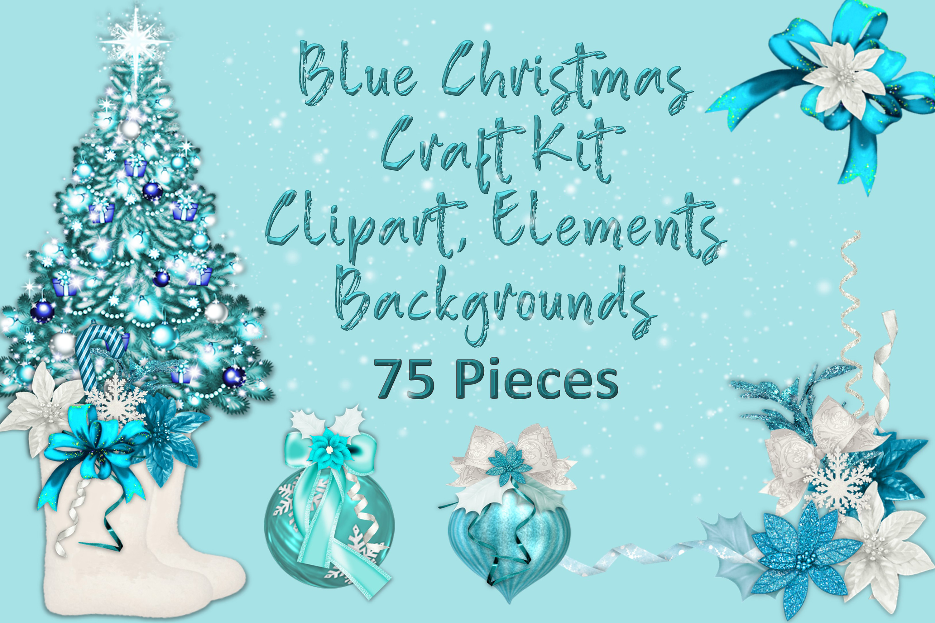 Download Free Blue Christmas Clip Art And Backgrounds Graphic By The Paper for Cricut Explore, Silhouette and other cutting machines.