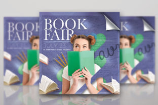 Book Fair or Library Shop Flyer Template Graphic Print Templates By n2n44.studio