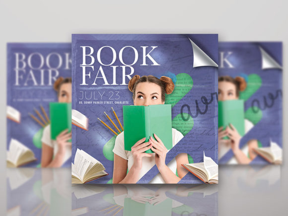 Book Fair or Library Shop Flyer Template Graphic