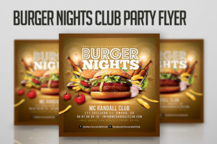 Burger Nights Club Party Flyer Template Graphic Print Templates By n2n44.studio