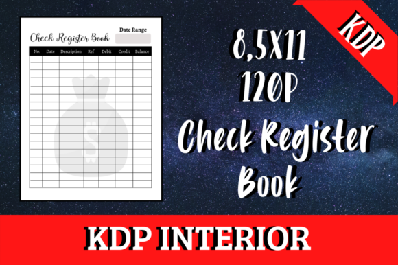 Print on Demand: Check Register Book | KDP Interior Graphic KDP Interiors By Hungry Puppy Studio