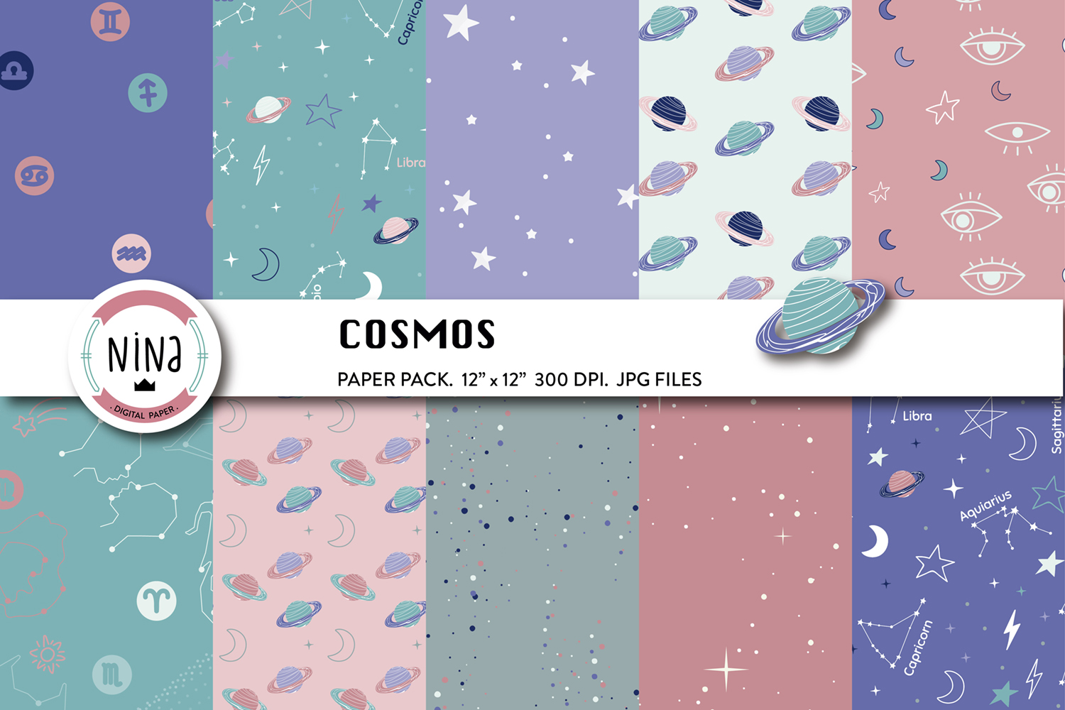 Download Free Cosmos Stars Digital Paper Planets Graphic By Nina Prints for Cricut Explore, Silhouette and other cutting machines.