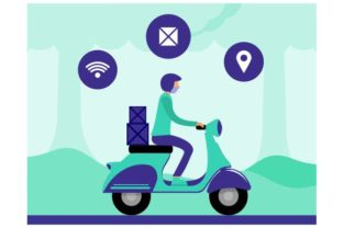 Print on Demand: Courier Driving Bike Fast Delivery Graphic Illustrations By Redvy Creative
