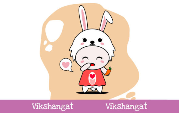 Download Free Cute Rabbit Character Vector Mascot Graphic By Vikshangat for Cricut Explore, Silhouette and other cutting machines.