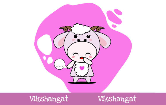 Download Free Cute Sheep Character Vector Mascot Graphic By Vikshangat for Cricut Explore, Silhouette and other cutting machines.