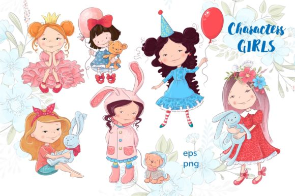 Download Free Cute Girls Graphic By Nicjulia Creative Fabrica for Cricut Explore, Silhouette and other cutting machines.