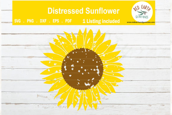 Download Free Distressed Sunflower Grunge Flower Graphic By Redearth And for Cricut Explore, Silhouette and other cutting machines.