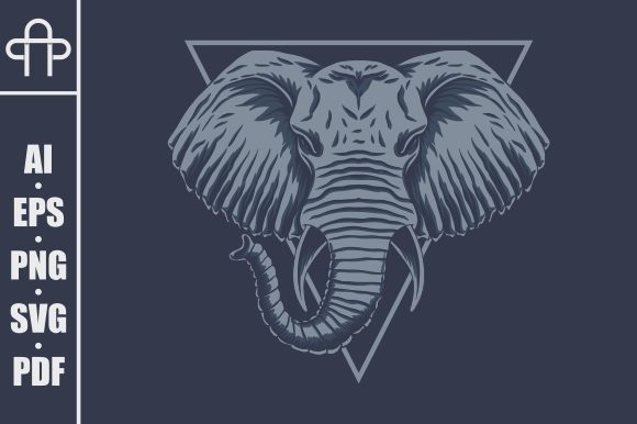 Download Free Elephant Head Vector Illustration Graphic By Andypp Creative for Cricut Explore, Silhouette and other cutting machines.