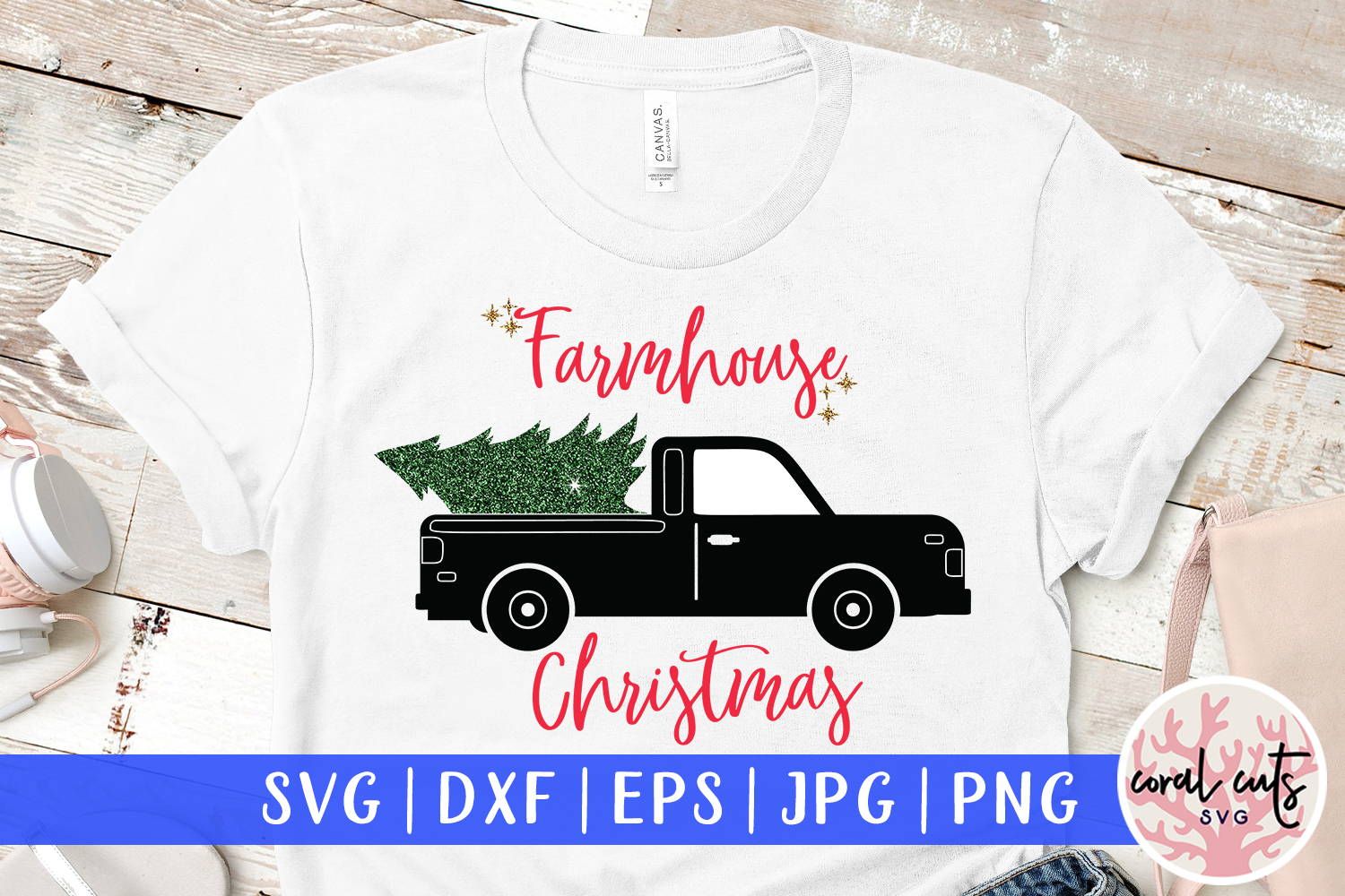 Download Free Farmhouse Christmas Graphic By Coralcutssvg Creative Fabrica for Cricut Explore, Silhouette and other cutting machines.