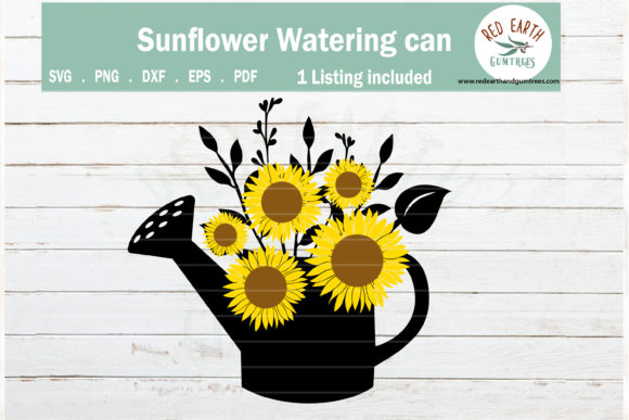 Farmhouse Sunflower in Watering Can Graphic Crafts By redearth and gumtrees