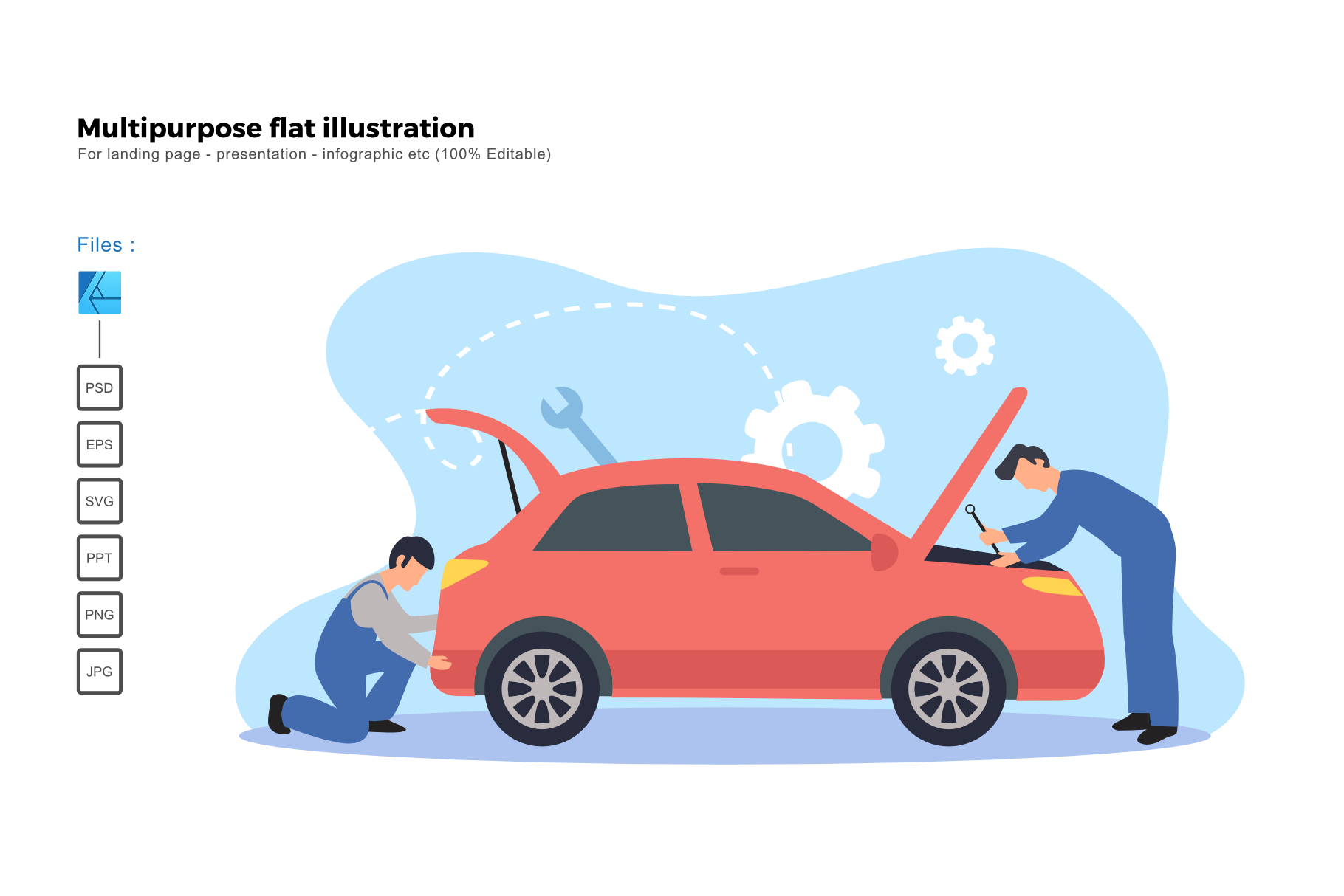 Download Free Flat Illustration Car Service Graphic By Rivatxfz Creative Fabrica for Cricut Explore, Silhouette and other cutting machines.