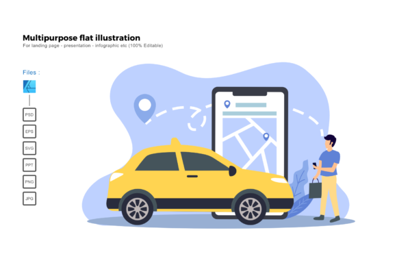 Download Free Flat Illustration Taxi Online Graphic By Rivatxfz Creative Fabrica for Cricut Explore, Silhouette and other cutting machines.