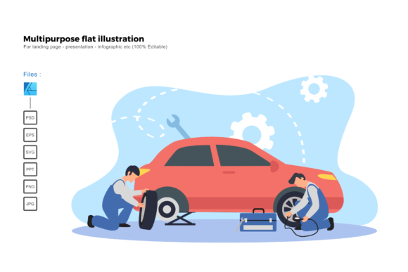 Download Free Flat Illustration Tire Replace Graphic By Rivatxfz Creative for Cricut Explore, Silhouette and other cutting machines.