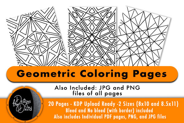 Geometric Pattern Coloring Pages KDP (Graphic) By Designs By David ·  Creative Fabrica