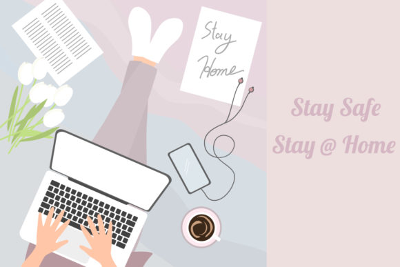 Download Free Girl Work From Home Concept Covid 19 Graphic By Thanaporn Pinp SVG Cut Files