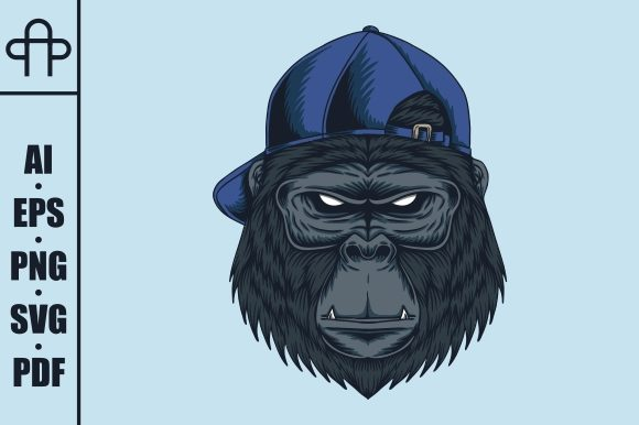 Print on Demand: Gorilla Head Cap Vector Illustration Graphic Illustrations By Andypp