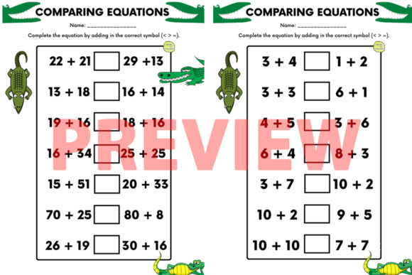 Greater/Less Than + Equals Sign Activity Graphic 2nd grade By Saving The Teachers