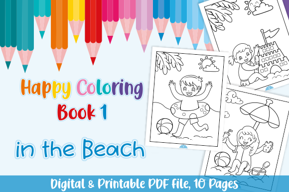 Download Free Happy Coloring Book 1 In The Beach Graphic By Momentos Crafter SVG Cut Files