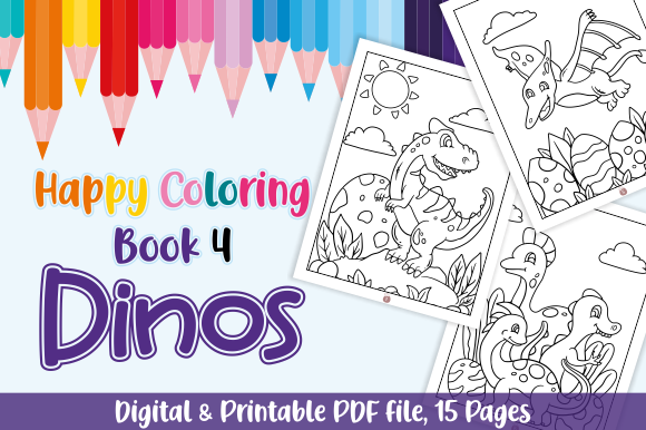 Print on Demand: Happy Coloring Book 4 - Dinos Graphic Coloring Pages & Books Kids By Momentos Crafter - Image 1