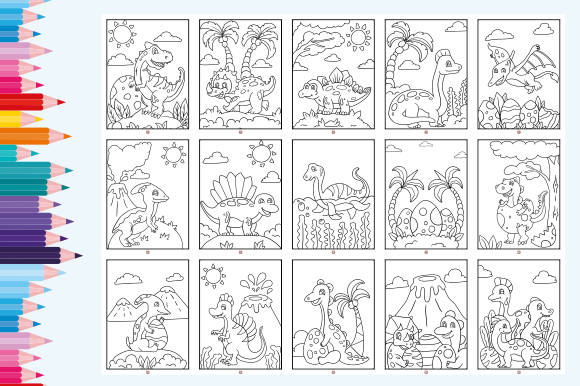 Print on Demand: Happy Coloring Book 4 - Dinos Graphic Coloring Pages & Books Kids By Momentos Crafter - Image 2