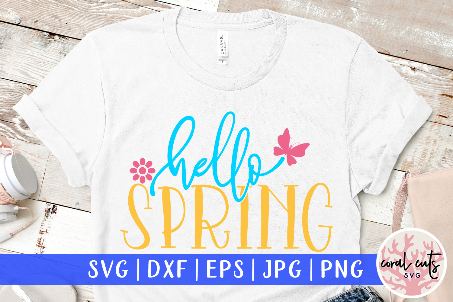 Download Free Hello Spring Cut File Graphic By Coralcutssvg Creative Fabrica for Cricut Explore, Silhouette and other cutting machines.