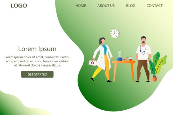 Print on Demand: Landing Page Doctor in Hospital Graphic Web Elements By morningmondayy