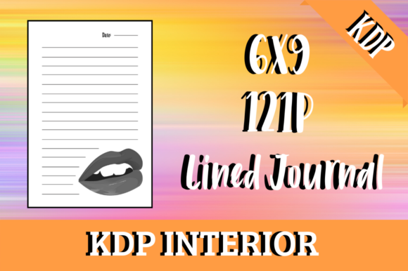 Print on Demand: Lined Journal with Lips | KDP Interior Gráfico Páginas KDP Por Hungry Puppy Studio