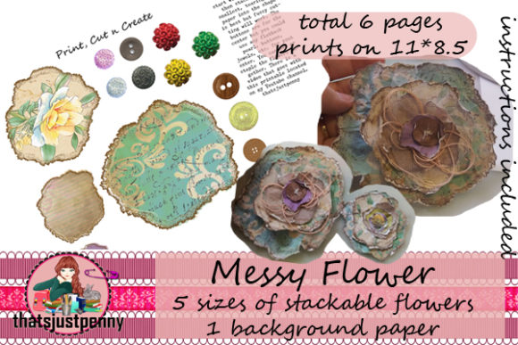 Messy Circle Flowers Printable Graphic By Thatsjustpenny