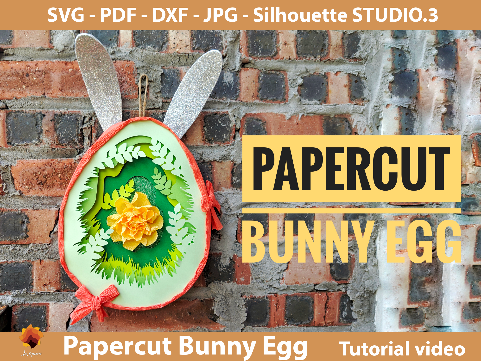 Download Free Papercut Bunny Egg Box Easter Graphic By Lasquare Info for Cricut Explore, Silhouette and other cutting machines.