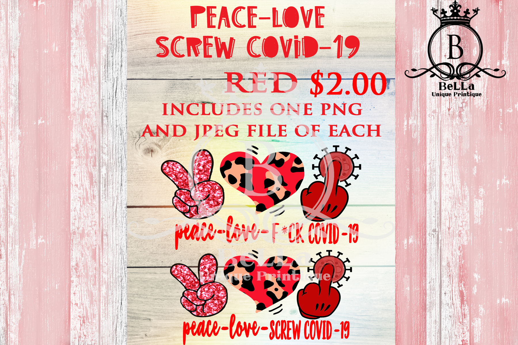 Download Free Peace Love Screw Covid 19 Red Graphic By Bellauniqueprintique Creative Fabrica for Cricut Explore, Silhouette and other cutting machines.