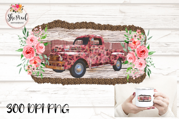 Download Free Pink Leopard Vintage Truck Clipart Graphic By Shepixel for Cricut Explore, Silhouette and other cutting machines.